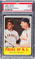 """Baseball Cards:Singles (1960-1969), 1963 Topps Mays/Musial """"Pride of N.L."""" #138 PSA Mint 9. ..."""