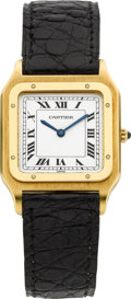 Timepieces:Wristwatch, Cartier Gent's Gold Wristwatch. ...