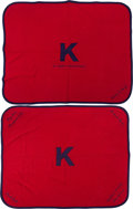 Basketball Collectibles:Others, Circa 1940 University of Kansas Jayhawks Basketball Player'sBlankets Lot of 2....