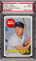 Baseball Cards:Singles (1960-1969), 1969 Topps Mickey Mantle, White Letters #500 PSA EX-MT 6....