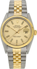 Timepieces:Wristwatch, Rolex Ref. 16013, Gent's Two Tone Oyster Perpetual Datejust, circa1980. ...