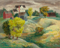 BROR ALEXANDER UTTER (American, 1913-1993) Landscape with Houses, circa 1940s Oil on masonite 16