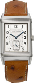 Timepieces:Wristwatch, Jaeger LeCoultre Ref. 270.8.54 Night & Day Steel Reverso. ...
