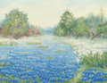 Texas:Early Texas Art - Regionalists, NANNIE HUDDLE (American, 1860-1951). Field of Bluebonnets.Oil on canvas. 17 x 22 inches (43.2 x 55.9 cm). Signed lower ...