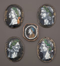 Decorative Arts, French:Other , FIVE FRENCH LIMOGES ENAMEL PORTRAIT MINIATURES: ROMANEMPERORS . Mid 17th century. In the style of Jacques Laud...(Total: 5 Items)