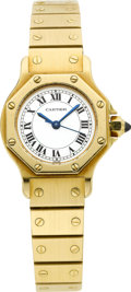 Timepieces:Wristwatch, Cartier Lady's Gold Santos Automatic Bracelet Watch. ...