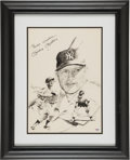 Autographs:Others, 1980's Mickey Mantle Signed Prints Lot of 3....