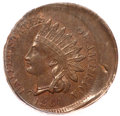 Errors, 1864 1C Bronze No L Indian Cent -- Struck 15% Off Center -- AU58PCGS....