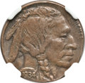 Errors, 1934 5C Buffalo Nickel -- Struck on a Cent Planchet -- MS62 BrownNGC....