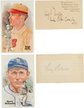 Autographs:Index Cards, Circa 1940 Hugh Duffy & Harry Heilmann Signed Index Cards....