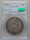 Seated Dollars, 1859-S $1 XF40 PCGS. CAC....