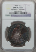 Seated Dollars, 1849 $1 -- Artificial Toning -- NGC Details. Unc....
