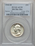 Washington Quarters, 1942-D 25C Doubled Die Obverse AU55 PCGS. FS-101....