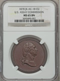 Assay Medals, 1878 U.S. Assay Medal, Copper MS65 Brown NGC. JK-AC-18....