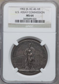 Assay Medals, 1902 U.S. Assay Medal, Silver MS64 NGC. JK-AC-46....