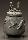 Tribal Art, AN ASHANTI BRASS CONTAINER WITH LID...