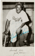 Autographs:Post Cards, 1951 Jackie Robinson Dual-Signed Postcard....