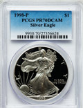Modern Bullion Coins: , 1998-P $1 Silver Eagle PR70 Deep Cameo PCGS. PCGS Population(1012). NGC Census: (1043). Numismedia Wsl. Price for problem...