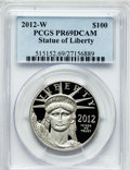 Modern Bullion Coins, 2012-W $100 One-Ounce Platinum Statue of Liberty PR69 Deep CameoPCGS. PCGS Population (385/150). Numis...