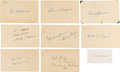 Autographs:Post Cards, 1950's Baseball Hall of Famers Signed Government Postcards Lot of 8....