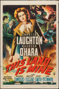 "Movie Posters:War, This Land is Mine (RKO, 1943). One Sheet (27"" X 41""). War.. ..."