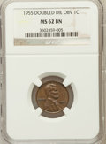 Lincoln Cents: , 1955 1C Doubled Die Obverse MS62 Brown NGC. NGC Census: (472/411).PCGS Population (323/591). Mintage: 5,000. Numismedia Ws...
