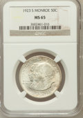 Commemorative Silver: , 1923-S 50C Monroe MS65 NGC. NGC Census: (372/60). PCGS Population(401/70). Mintage: 274,077. Numismedia Wsl. Price for pro...