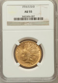 Indian Eagles: , 1916-S $10 AU55 NGC. NGC Census: (86/697). PCGS Population(95/726). Mintage: 138,500. Numismedia Wsl. Price for problem fr...