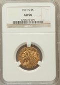 Indian Half Eagles: , 1911-S $5 AU58 NGC. NGC Census: (793/979). PCGS Population(263/891). Mintage: 1,416,000. Numismedia Wsl. Price for problem...