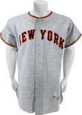 Baseball Collectibles:Uniforms, 1955 Larry Jansen Game Issued New York Giants Jersey....