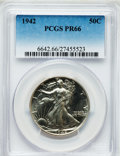 Proof Walking Liberty Half Dollars: , 1942 50C PR66 PCGS. PCGS Population (1585/788). NGC Census:(1322/986). Mintage: 21,120. Numismedia Wsl. Price for problem ...