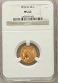 Indian Quarter Eagles: , 1914-D $2 1/2 MS62 NGC. NGC Census: (3421/2803). PCGS Population(1669/1795). Mintage: 448,000. Numismedia Wsl. Price for p...