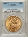 Liberty Double Eagles: , 1882-S $20 MS61 PCGS. PCGS Population (327/361). NGC Census:(401/179). Mintage: 1,125,000. Numismedia Wsl. Price for probl...