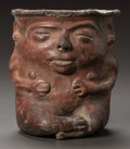 Pre-Columbian:Ceramics, A VESSEL IN THE FORM OF A SEATED FIGURE. c. 600 - 900 AD...