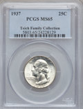Washington Quarters, 1937 25C MS65 PCGS. Ex: Teich Family Collection. PCGS Population(581/424). NGC Census: (316/367). Mintage: 19,701,542. Nu...