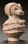 Pre-Columbian:Ceramics, A VESSEL IN THE FORM OF AN ANIMAL WITH SERPENT. c. 700 - 900 AD....