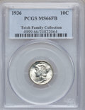 Mercury Dimes, 1936 10C MS66 Full Bands PCGS. Ex: Teich Family Collection. PCGSPopulation (712/193). NGC Census: (200/75). Mintage: 87,5...