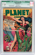 Golden Age (1938-1955):Science Fiction, Planet Comics #51 (Fiction House, 1947) CGC Qualified FN/VF 7.0Off-white pages....