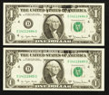 Error Notes:Ink Smears, Fr. 1909-D $1 1977 Federal Reserve Notes. Two Consecutive Examples. Choice Crisp Uncirculated.. ... (Total: 2 notes)