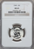 Washington Quarters: , 1949 25C MS65 NGC. NGC Census: (372/582). PCGS Population(611/533). Mintage: 9,312,000. Numismedia Wsl. Price for problem...