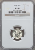 Mercury Dimes: , 1936 10C MS67 NGC. NGC Census: (132/1). PCGS Population (137/3).Mintage: 87,504,128. Numismedia Wsl. Price for problem fre...