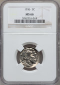 Buffalo Nickels: , 1936 5C MS66 NGC. NGC Census: (1026/92). PCGS Population (1143/97).Mintage: 119,001,424. Numismedia Wsl. Price for problem...