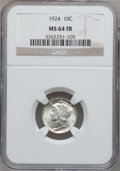 Mercury Dimes: , 1924 10C MS64 Full Bands NGC. NGC Census: (97/176). PCGS Population(190/236). Mintage: 24,010,000. Numismedia Wsl. Price f...