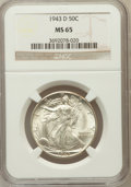 Walking Liberty Half Dollars: , 1943-D 50C MS65 NGC. NGC Census: (1733/1656). PCGS Population(3026/1842). Mintage: 11,346,000. Numismedia Wsl. Price for p...