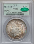 Morgan Dollars: , 1878 7/8TF $1 Weak MS63 PCGS. CAC. PCGS Population (1153/915).Mintage: 544,000. ...