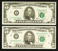Error Notes:Error Group Lots, Fr. 1972-A $5 1969C Federal Reserve Note. Very Fine;. Fr. 1975-B $51977A Federal Reserve Note. Extremely Fine.. ... (Total: 2 notes)