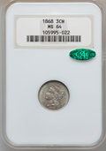 Three Cent Nickels: , 1868 3CN MS64 NGC. CAC. NGC Census: (167/72). PCGS Population(147/92). Mintage: 3,252,000. Numismedia Wsl. Price for probl...