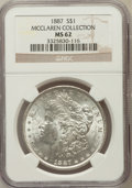 Morgan Dollars, 1887 $1 MS62 NGC. Ex: McClaren Collection. NGC Census:(8537/156721). PCGS Population (7678/116056). Mintage: 20,290,710.N...