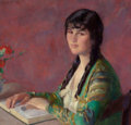 American:Portrait & Genre, IVAN GREGOROVITCH OLINSKY (American, 1878-1962). Young WomanReading. Oil on canvas. 24 x 25 inches (61.0 x 63.5 cm). Si...