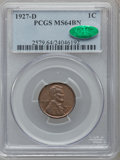 Lincoln Cents: , 1927-D 1C MS64 Brown PCGS. CAC. PCGS Population (57/12). NGCCensus: (37/18). Mintage: 27,170,000. Numismedia Wsl. Price fo...